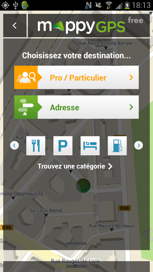 application mappy gps gratuit sur smartphone et tablette android. Black Bedroom Furniture Sets. Home Design Ideas